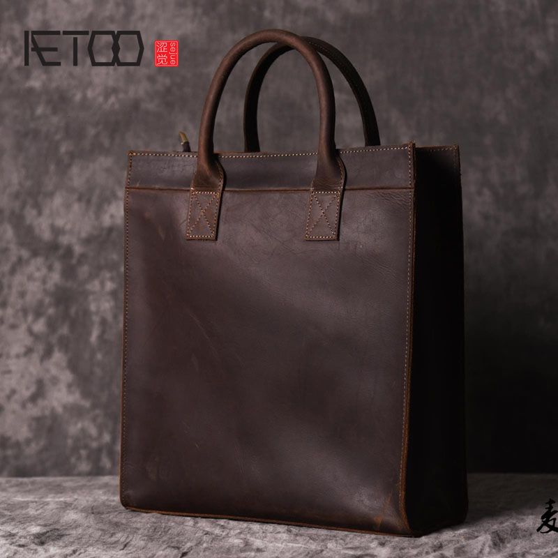 AETOO Men s vertical handbag European and American shoulder Messenger bag business leather file package retro