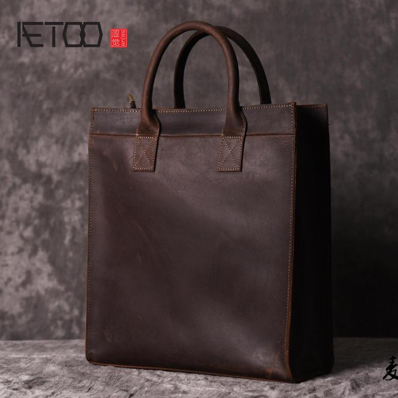 AETOO Men s vertical handbag European and American shoulder Messenger bag business leather file package retro