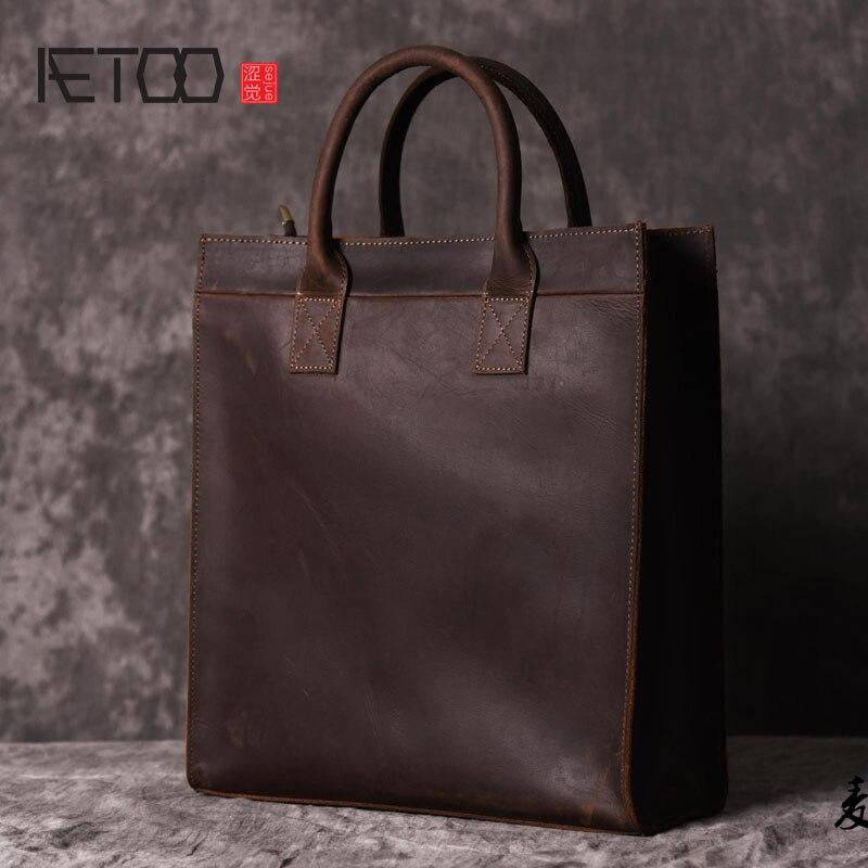 AETOO Hommes vertical de sac à main épaule Européenne et Américaine Messenger sac d'affaires en cuir fichier paquet rétro simple