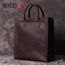 AETOO  Men s vertical handbag European and American shoulder Messenger bag business leather file package retro simple