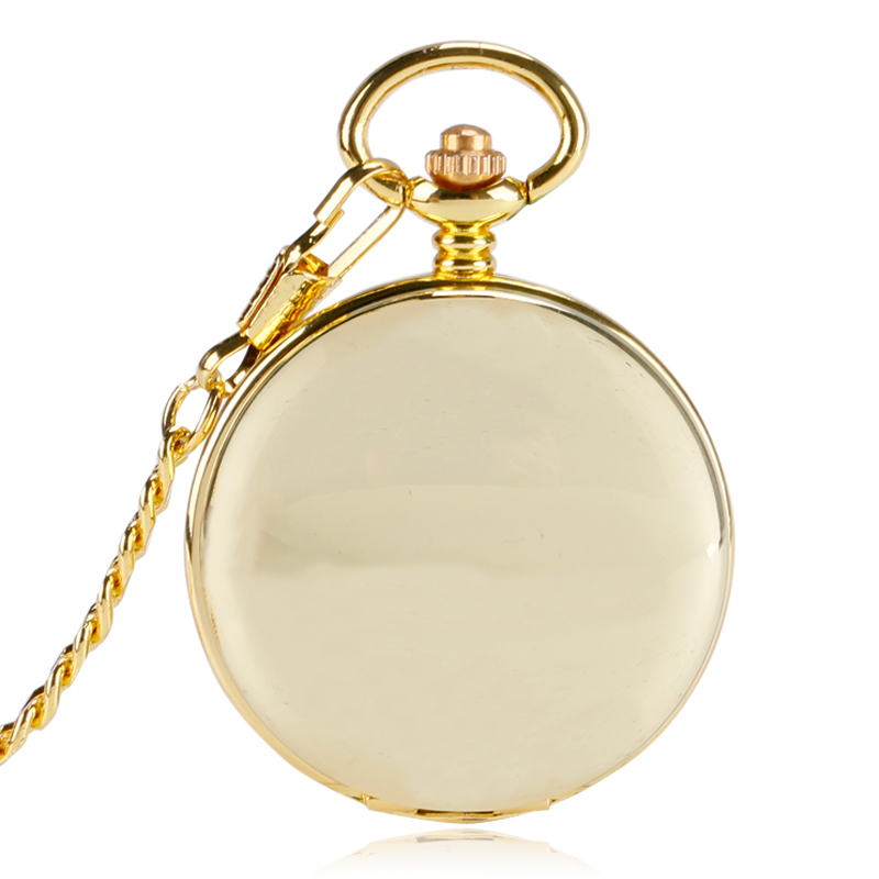 Golden Pocket Watches Delicate Luxury Unique Smooth Mirro Case Double Hunter Transparent Skeleton Dial Automatic Mechanical Fob