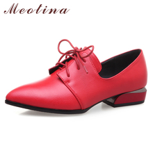 Купить с кэшбэком Meotina High Heels Derby Shoes Women Casual Square Heels Shoes Lace Up Pointed Toe Pumps Ladies Footwear Spring Red Big Size 43
