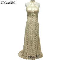 New Arrival Champagne Lace Mermaid Prom Dresses 2017 High Neck Appliques Beaded Off Shoulder Prom Gowns For Formal Party