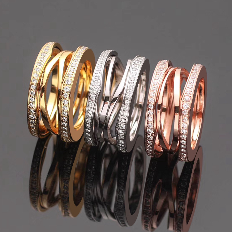luxury Famous Brand Fashion jewelry titanium steel hollow with CZ rings for women men couple engagement wedding love ring