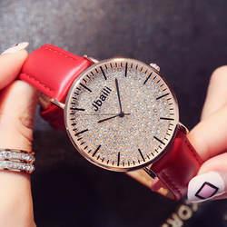 2019 Новое поступление часы для женщин браслет платье повседневное красный кожаный кварц-часы со стразами аналоговый Relogio Feminino
