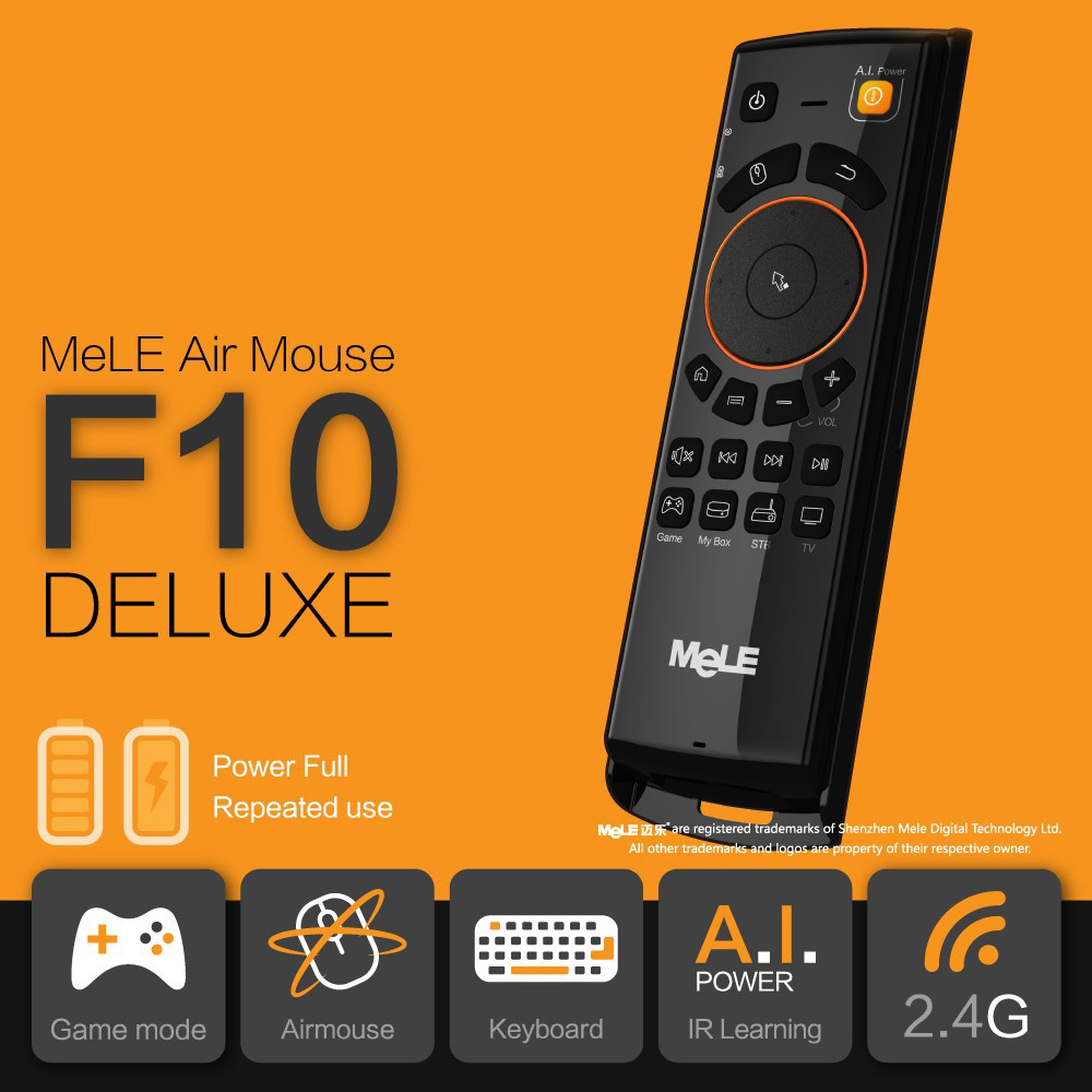 Mele F10 Deluxe Fly Air Mouse 2.4GHz Wireless Keyboard Remote Control with IR Learning Function For Smart Android Tv Box Mini Pc new arrival 2 4ghz wireless fly air mouse mini keyboard remote control with ir learning function for android tv box pc computer