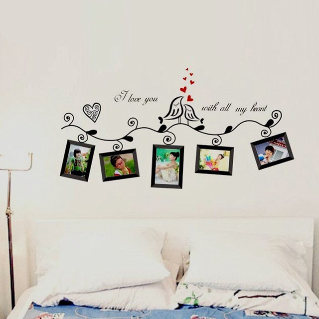 Bilderrahmen Vögel Wandaufkleber Familie Dekoration Diy Zitate Mural Art  Home Decals Poster Valentinstag Geschenk Schälen Und