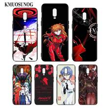 Silicone Case For OnePlus 5T 6 6T Printing Pattern Black Soft Phone Cover Neon Genesis Evangelion Style