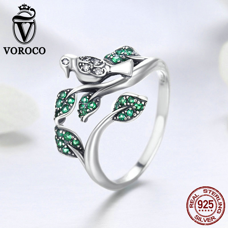 VOROCO Original 100% 925 Sterling Silver Glitter Bird On The Branch Adjustable Ring Green Zircon Stone Party Fine Jewelry BNR009