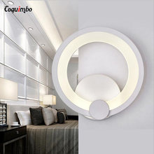 Simple LED Wall Lights For Bedroom Hallway Metal+Acrylic Ring Wall Sconce Wall Lamp Modern Home Lighting Indoor Wall Mounted(China)