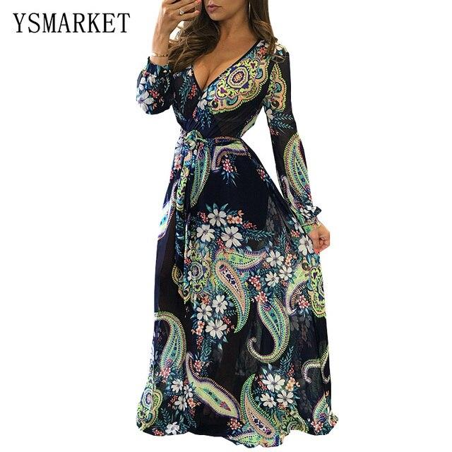 6f4f037435035 Navy Blue Floral Print Boho Long Sleeve Dresses Belt Sashes Women Floor  Length Sexy Maxi Dress Vestido De Festa Robe Femme H0801