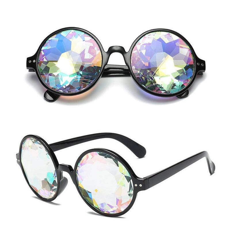 Kaleidoscope Round Crystal Lens Dance Rave Festival Party EDM Sunglasses XA