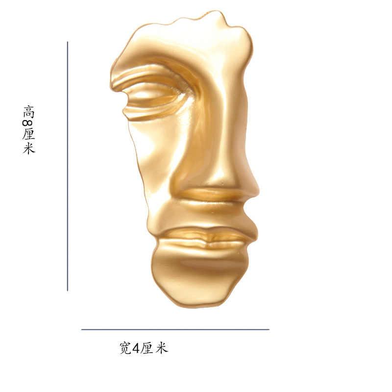 1 PC/1 Pasang Abstrak Wajah Masker Bros Vintage Logam Emas Anting-Anting Liontin Kalung