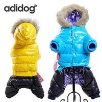 מכירה חמה חורף חיות מחמד בגדי כלב סופר חם למטה ז 'קט לכלבים קטנים קפוצ' ונים כותנה עבה מעיל כלב עמיד למים צ 'יוואווה