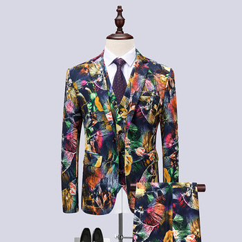 Mens Hipster 3 Pieces Suits (Jacket+Pants+Vest) Brand Slim Fit Suit Men Terno Masculino Party Wedding Prom Dress Suits for Men