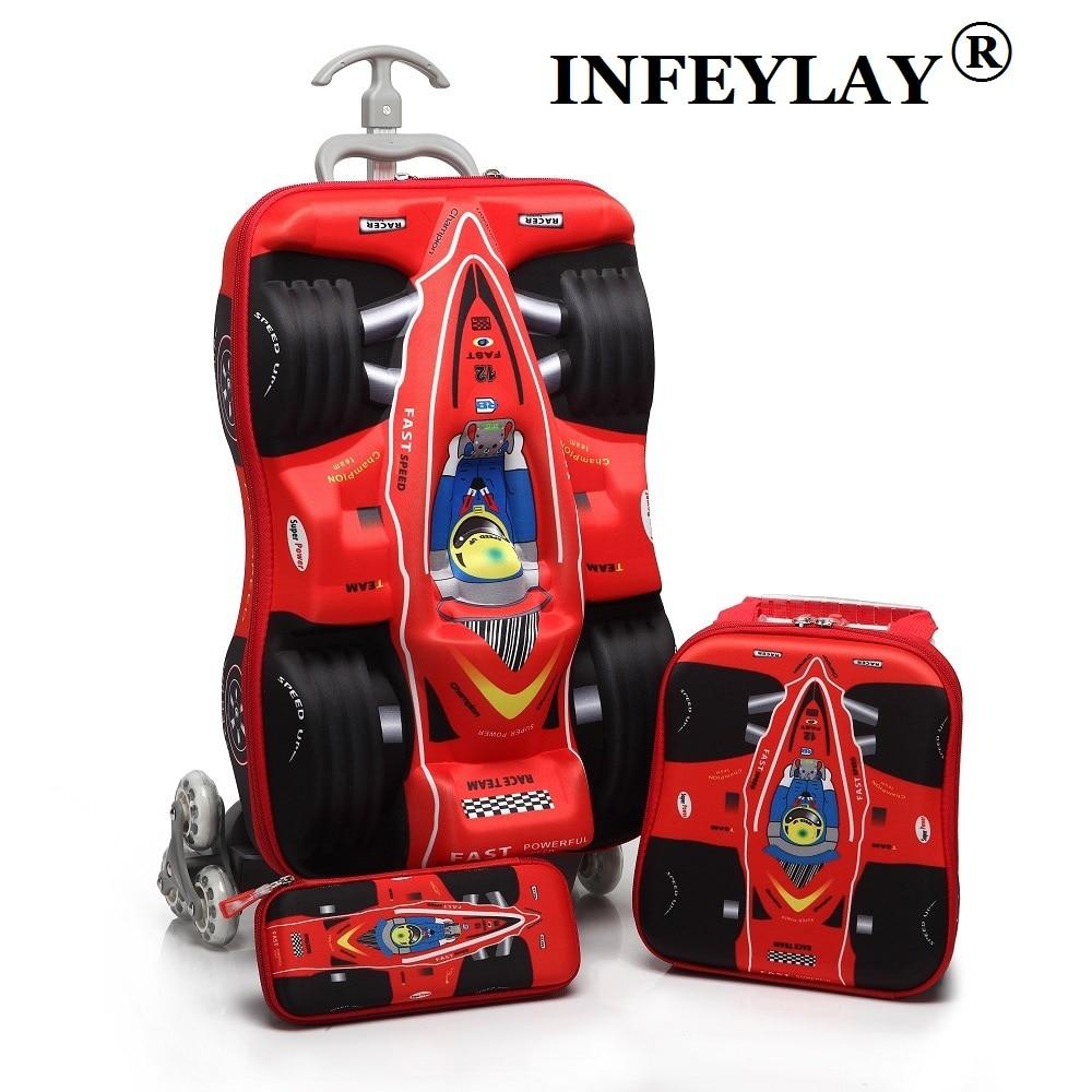3pcsset kids cars travel luggage 3d stereo pull rod box cartoon child pencil box
