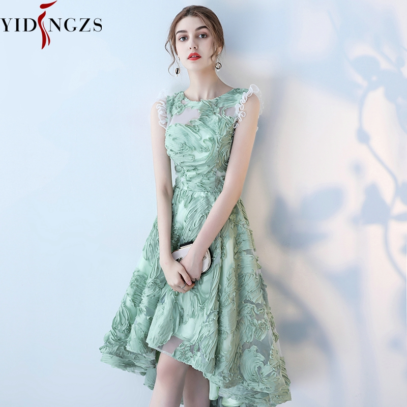 YIDINGZS Elegant   Prom     Dress   Fresh Green Lace Sleeveless High-Low   Prom   Party   Dress