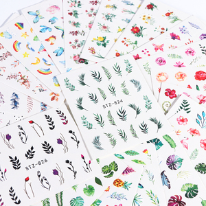 Image 2 - 1pcs Water Nail Decal and Sticker Flower Leaf Tree Green Simple Winter Slider for Manicure Nail Art Watermark Tips CHSTZ824 844