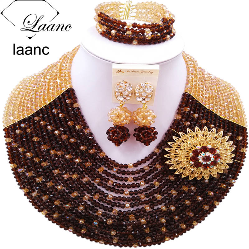 Colorful Gold AB Brown African Beads Jewelry Set for Nigerian Wedding Indian Bridal Jewelry Sets Free Shipping C16C012Colorful Gold AB Brown African Beads Jewelry Set for Nigerian Wedding Indian Bridal Jewelry Sets Free Shipping C16C012