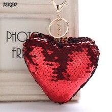 цена на FGHGF new reflective bright heart heart key pendant glitter sequin heart ladies bag pendant colorful sequin heart keychain