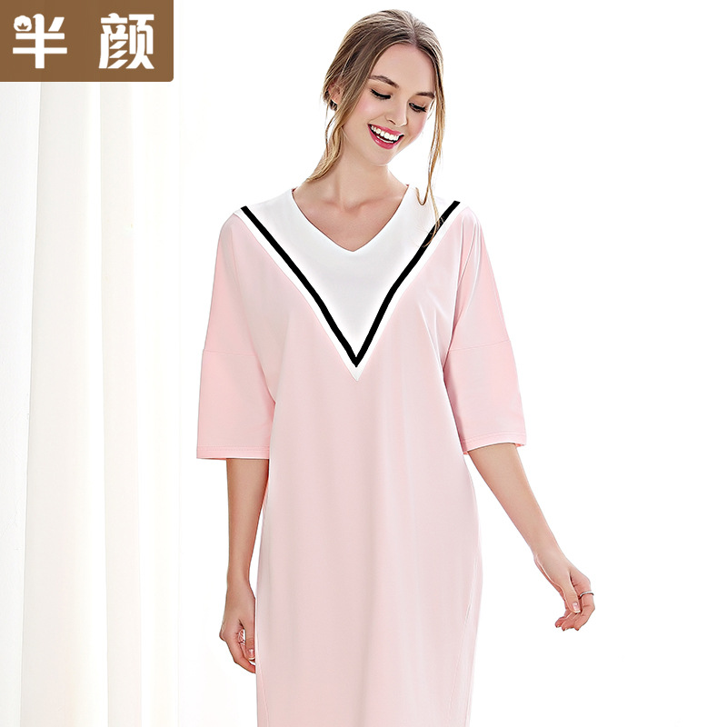 Spring Summer 100% Cotton Fashion Short Sleeved Nightdress V-neck Stitching   Nightgowns   Home Clothing   Sleepshirts   Women Dresses