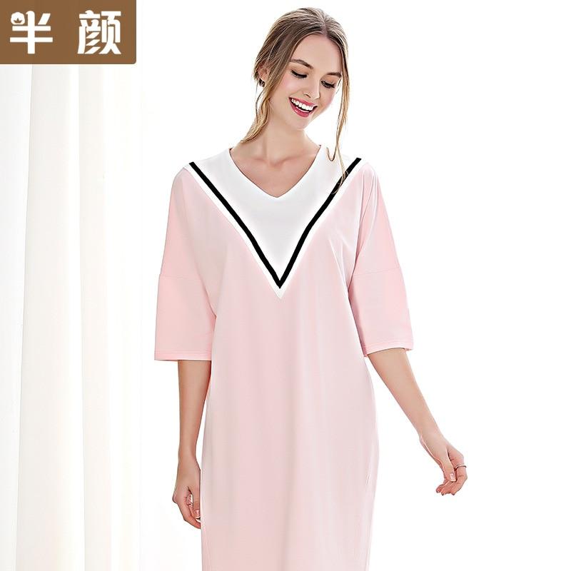 Spring Summer 100% Cotton Fashion Short Sleeved Nightdress V-neck Stitching   Nightgowns   Home Clothing   Sleepshirts   Women Dresses