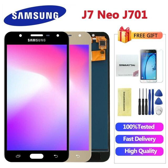 5.5 'بوصة ل سامسونج غالاكسي J7 Neo شاشة الكريستال السائل J701 J701F J701M J701MT اللمس شاشة LCD الجمعية استبدال أجزاء