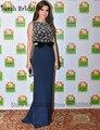 Azul marino Nancy Ajram Mermaid Celebrity Vestidos de Noche 2017 Con Cuentas Lentejuelas Árabe Abaya Dubai Cabalgaba De Soiree Vestido de Fiesta Del Partido
