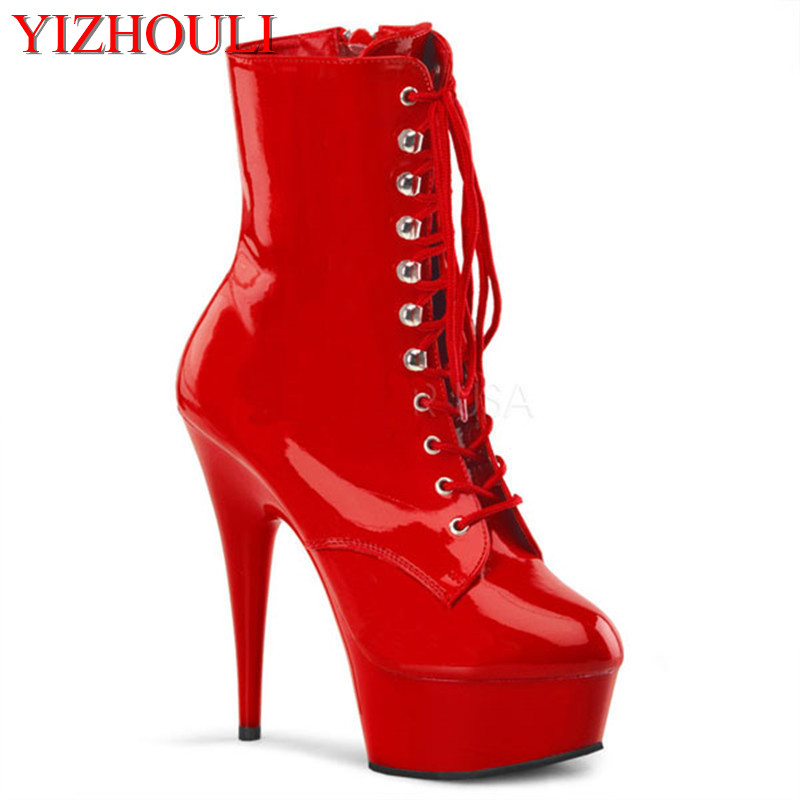 Dim black Cool fashion boots motorcycle boots ultra high heels 15cm boots classic 6 inch high