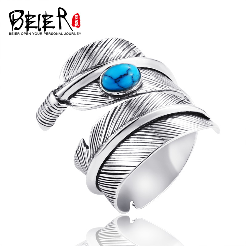 Beier new store arrive 925 silver sterling feather fashion accessories opening jewelry for men ring LR925K039 цена