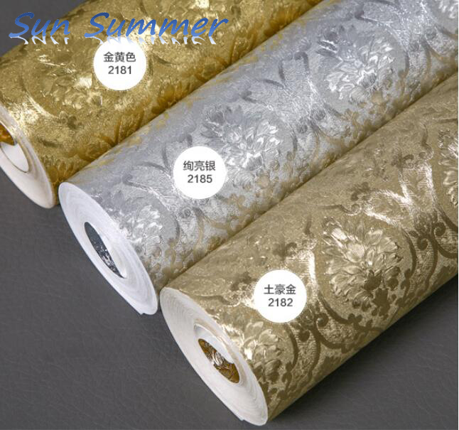 home improvement wallpaper gold foil silver foil wallpaper wallpaper bedroom living room тарелка gold space home