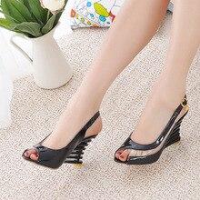 Taoffen 2019 New Women Heel Sandals Buckle Open Toe High Wedge Shoes Women's Summer Shoes Sexy Women Shoes Footwear Size 34-39