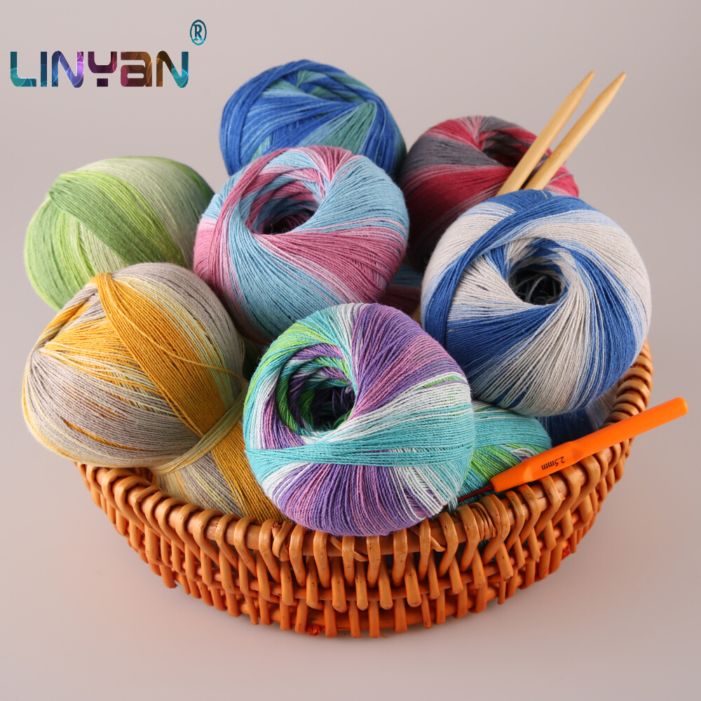 500g Pure natural 48 Cotton yarn for crochet 52 Linen Silk yarn for knitting Section dyeing