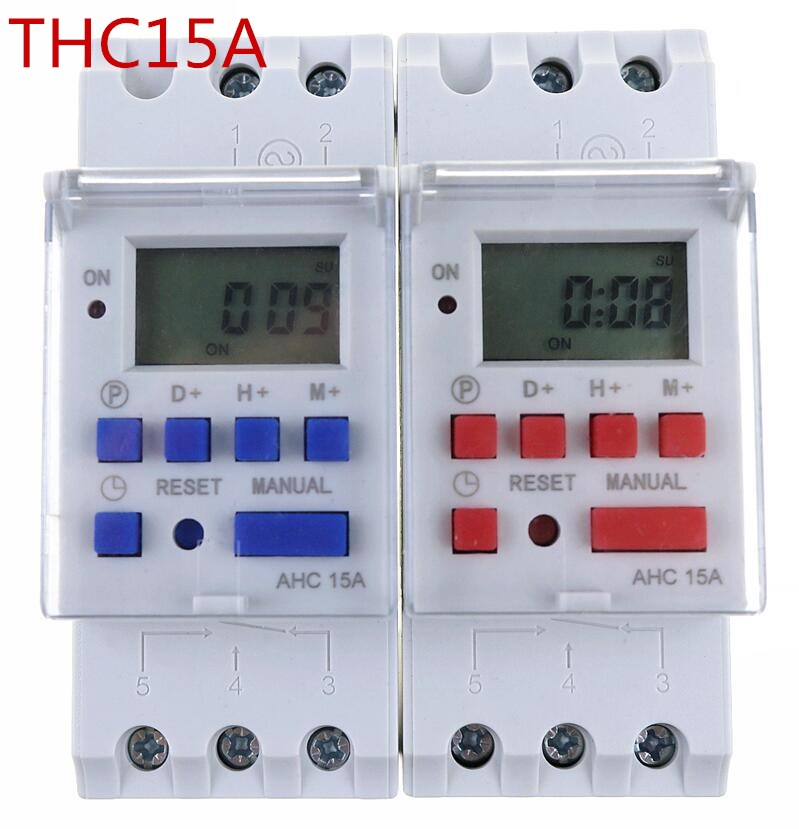 thc15a AHC15A Din rail timer relay time switches weekly programmble electronic TIME SWITCH 220V bell ring device ok thc15a zb18b timer switchelectronic weekly 7days programmable digital time switch relay timer control ac 220v 30a din rail mount