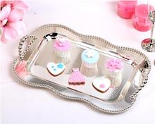 45x32cm large oval classic silver metal serving tray storage tray for tableware cups fruit home decoration