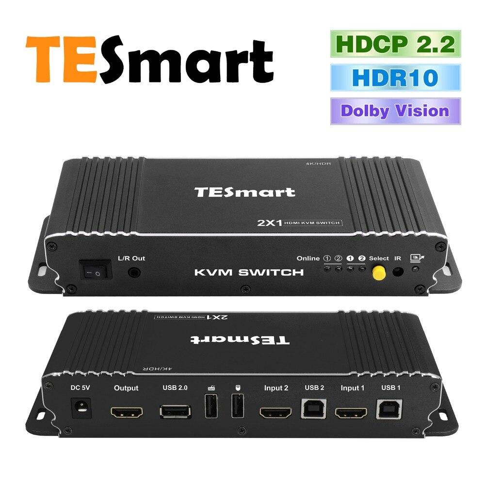 Tesmart Neue Hdmi 4k @ 60hz Ultra Hd 2x1 Hdmi Kvm Schalter Unterstützt Usb 2.0 Geräte Control Up Zu 2 Computer/server Qualifiziert Hdmi Schalter 4 K Kvm-switches