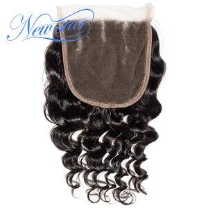 Image 2 - ניו סטאר שיער ברזילאי Loose עמוק 5x5 תחרה 3 חלק סגרים 100% לא מעובד חדש כוכב בתולה שיער טבעי טבעי צבע תינוק שיער