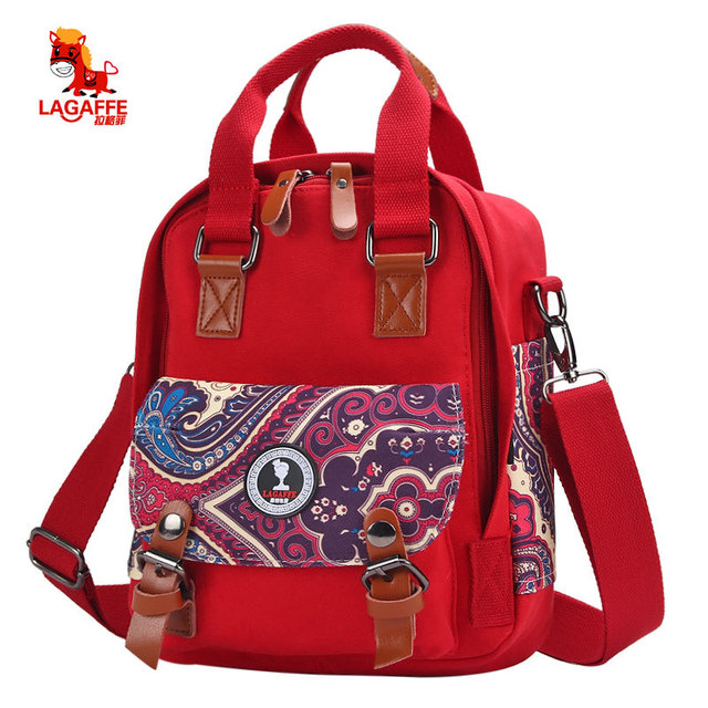 Chinese Style Canvas Mom Handbags Casual Shoulder Bags Belt Crossbody Diaper Backpack
