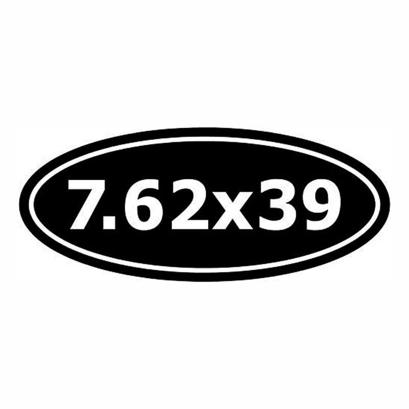 15*6.1 Cm 7.62x39 Ak-47 Ammo Auto Sticker Decals Digitale Motorfiets Stickers Gepersonaliseerde Auto Accessoires Zwart/zilver C1-0232