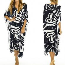 80fa2218ec33494 2019 черно-белое пляжное платье с принтом платье женская пляжная одежда  Шифоновая туника плюс размер
