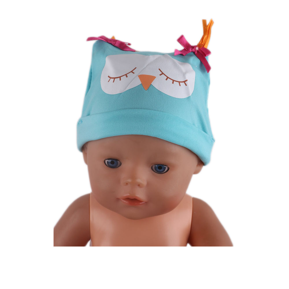 New Fashion Blue Owl Hat Wear Fit 43 Cm Born Children Best Birthday Gift