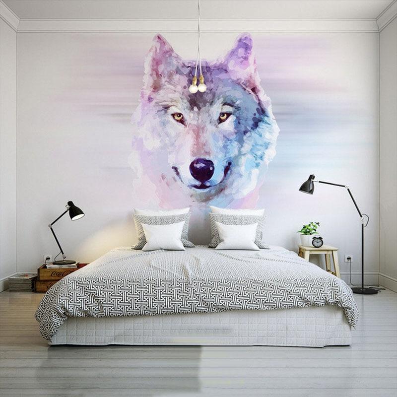 Personalized Customization Abstract Art Animal Wolf 3D Photo Mural Wallpaper Restaurant Clubs KTV Bar Bedroom Design Wallpaper