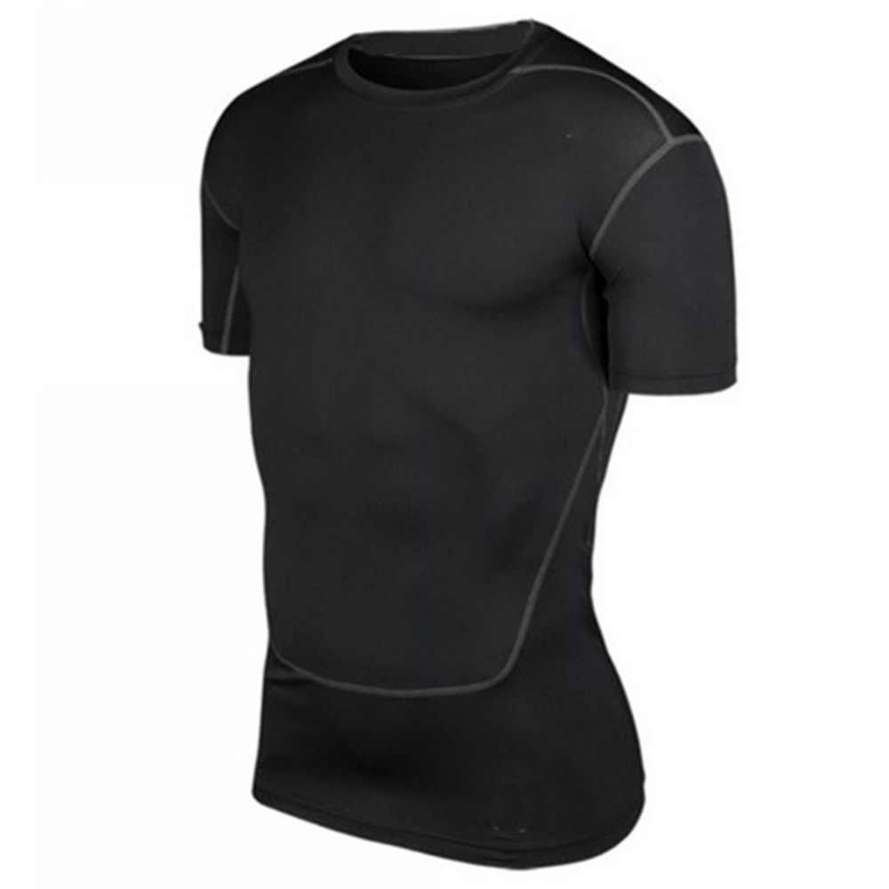 גברים דחיסת חולצות שכבת בסיס חולצות שחור לבן אפור ירוק צבע יבש קצר שרוול ספורט למעלה גברים ספורט קיץ חדש