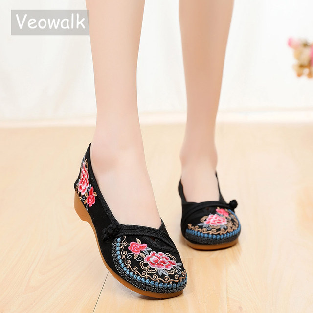 Veowalk Vintage Embroidered Women Canvas Old Beijing Shoes Ladies Casual Slip-on Ballet Flats Chinese Style Dance Costume Shoes