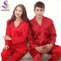 Festival Red Wedding Garment Silk Pajamas Sets For Women And Men Spring Autumn Lovers Satin Pajamas Long Embroidered Nightwear
