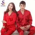 Festival de Casamento Vermelho Conjuntos De Pijamas De Seda de Vestuário Para Homens E Mulheres Amantes da Primavera Outono Pijama De Cetim Longo Bordado Roupa de Dormir