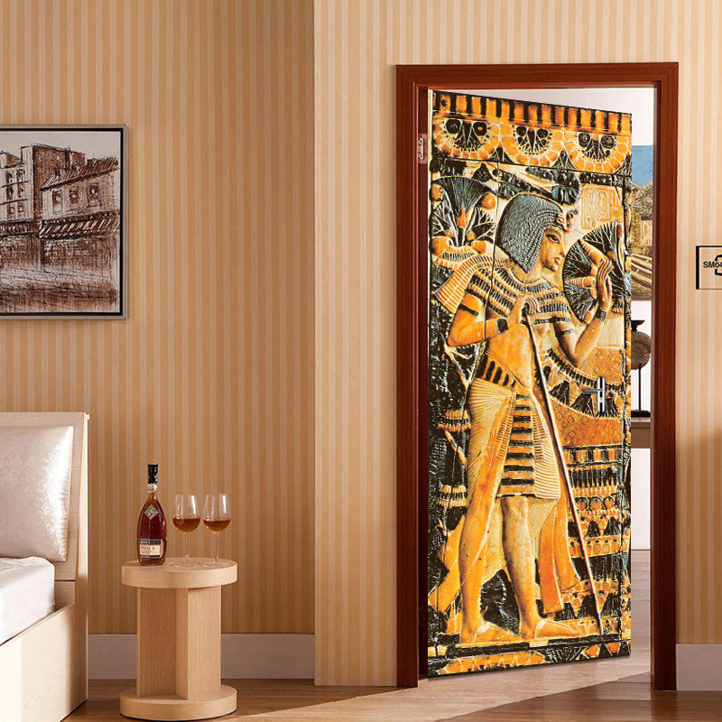 цена на Door Sticker Waterproof Self-adhesive Mural Wallpaper Egyptian Pharaoh Wall Painting Living Room Bedroom Door Stickers Decor 3D
