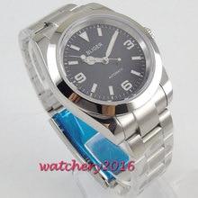 лучшая цена Valentines gifts 40mm Bliger Black Dial Deployment clasp Luminous Hands Automatic Mechanical men's Watch