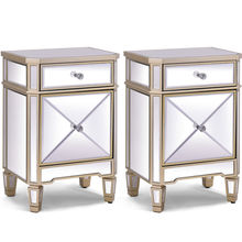 2 PCS Modern Beveled Mirrored Finish Nightstand