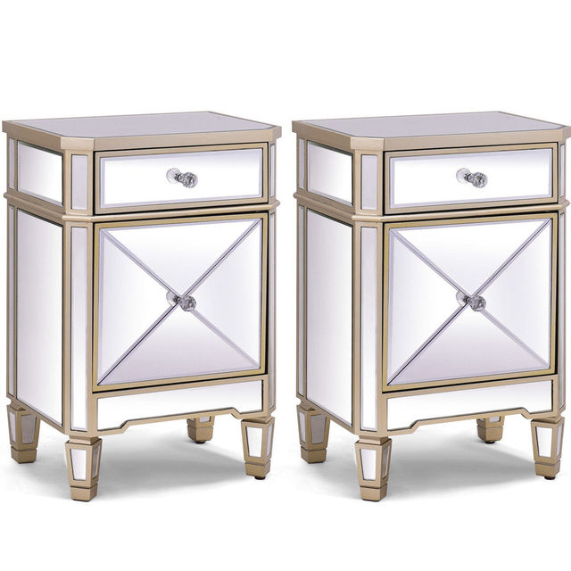 Giantex 2 PCS Modern Beveled Mirrored Finish Storage Nightstand Home Accent  Cabinet With Drawer Bedroom Furniture